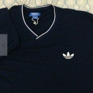 NEW Adidas V Neck Trefoil Logo T Shirt Navy Blue